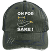 Oh For Fox Sake! Distressed Trucker Cap Apparel CustomCat 6990 Distressed Unstructured Trucker Cap Dark Green/Navy One Size