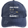Oh For Fox Sake! Distressed Trucker Cap Apparel CustomCat 6990 Distressed Unstructured Trucker Cap Navy/Navy One Size