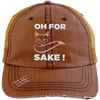 Oh For Fox Sake! Distressed Trucker Cap Apparel CustomCat 6990 Distressed Unstructured Trucker Cap Orange/Navy One Size