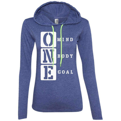 ONE Body Mind Goal T-Shirts CustomCat Heather Blue/Neon Yellow S