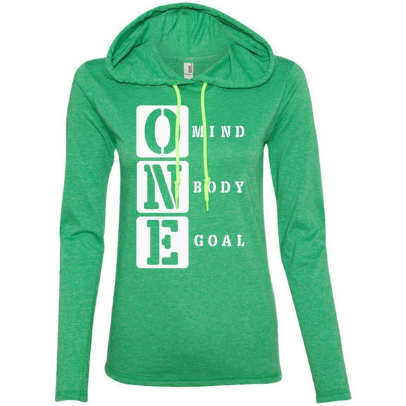 ONE Body Mind Goal T-Shirts CustomCat Heather Green/Neon Yellow S