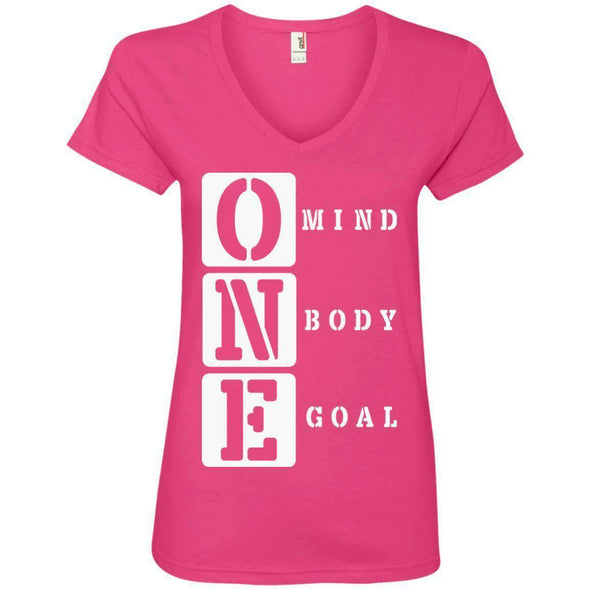 ONE Body Mind Goal T-Shirts CustomCat Hot Pink S