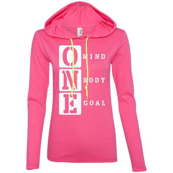 ONE Body Mind Goal T-Shirts CustomCat Hot Pink/Neon Yellow S