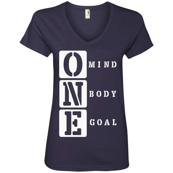 ONE Body Mind Goal T-Shirts CustomCat Navy S