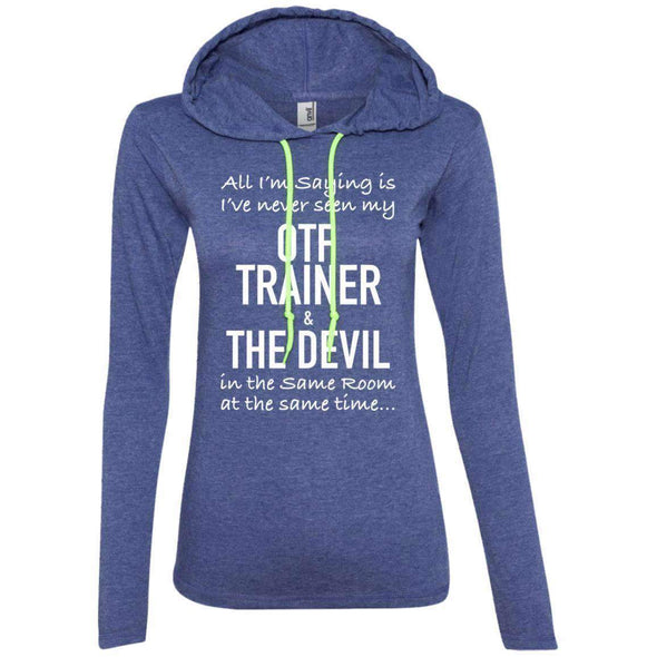 OTF TRAINER is the Devil T-Shirts CustomCat Heather Blue/Neon Yellow Small