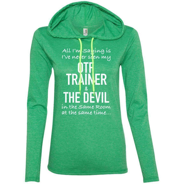 OTF TRAINER is the Devil T-Shirts CustomCat Heather Green/Neon Yellow Small