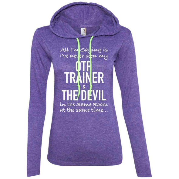 OTF TRAINER is the Devil T-Shirts CustomCat Heather Purple/Neon Yellow Small