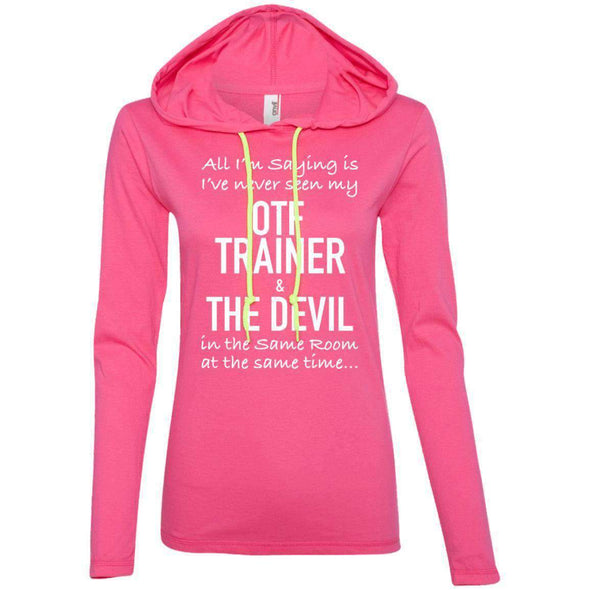 OTF TRAINER is the Devil T-Shirts CustomCat Hot Pink/Neon Yellow Small