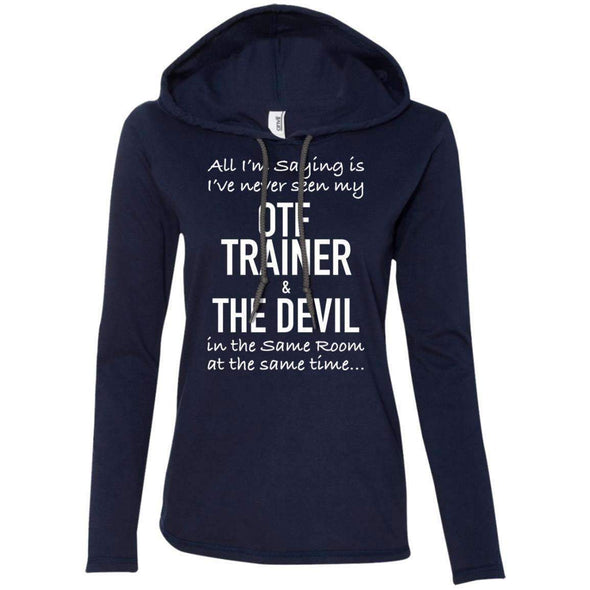 OTF TRAINER is the Devil T-Shirts CustomCat Navy/Dark Grey Small