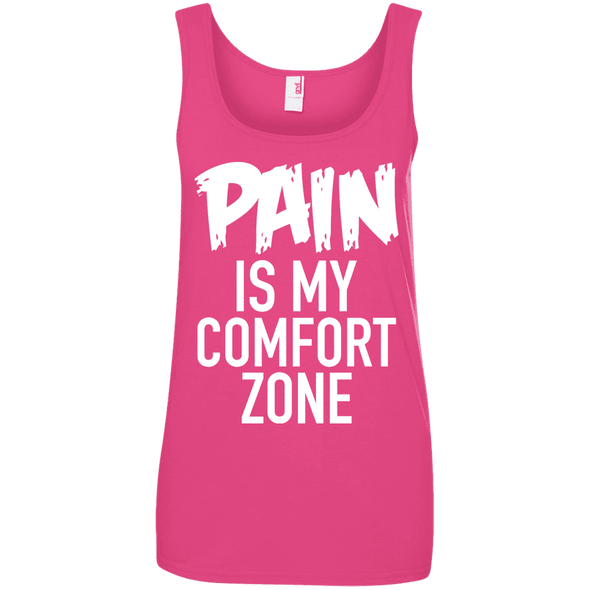 Pain is My Comfort Zone Apparel CustomCat 882L Anvil Ladies' 100% Ringspun Cotton Tank Top Hot Pink Small