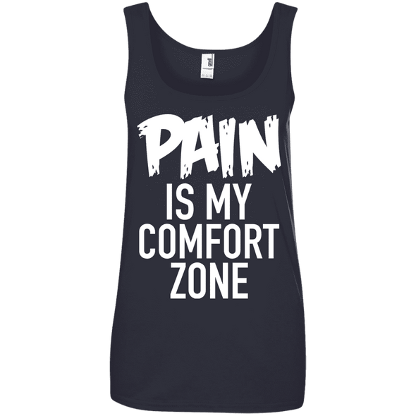 Pain is My Comfort Zone Apparel CustomCat 882L Anvil Ladies' 100% Ringspun Cotton Tank Top Navy Small