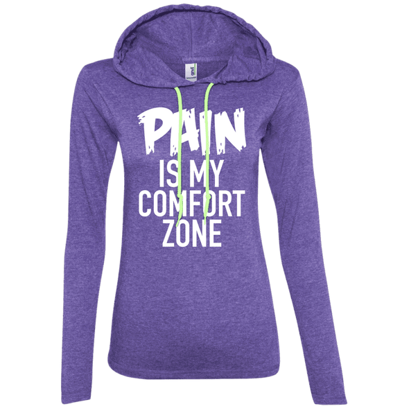 Pain is My Comfort Zone Hoodies Apparel CustomCat 887L Anvil Ladies' LS T-Shirt Hoodie Heather Purple/Neon Yellow Small