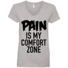 Pain is My Comfort Zone Tees Apparel CustomCat 88VL Anvil Ladies' V-Neck T-Shirt Heather Grey Small