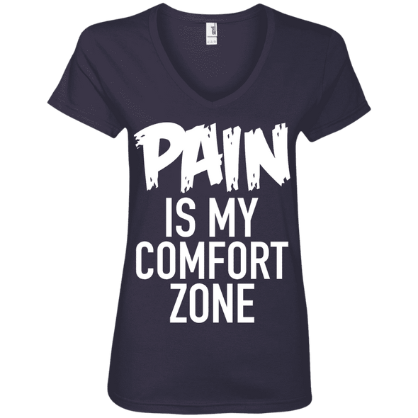 Pain is My Comfort Zone Tees Apparel CustomCat 88VL Anvil Ladies' V-Neck T-Shirt Navy Small