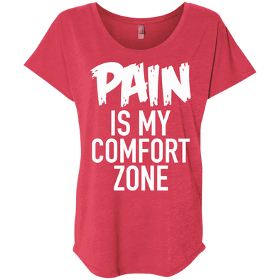 Pain is My Comfort Zone Tees Apparel CustomCat NL6760 Next Level Ladies' Triblend Dolman Sleeve Vintage Red X-Small