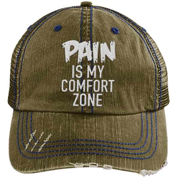 Pain is My Comfort Zone Trucker Cap Apparel CustomCat 6990 Distressed Unstructured Trucker Cap Brown/Navy One Size