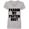 Pardon My Protein Dust Tees Apparel CustomCat 88VL Anvil Ladies' V-Neck T-Shirt Heather Grey Small