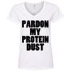 Pardon My Protein Dust Tees Apparel CustomCat 88VL Anvil Ladies' V-Neck T-Shirt White Small