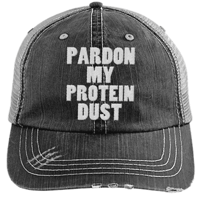 Pardon My Protein Dust Trucker Cap Apparel CustomCat 6990 Distressed Unstructured Trucker Cap Black/Grey One Size