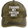 Pardon My Protein Dust Trucker Cap Apparel CustomCat 6990 Distressed Unstructured Trucker Cap Brown/Navy One Size