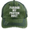 Pardon My Protein Dust Trucker Cap Apparel CustomCat 6990 Distressed Unstructured Trucker Cap Dark Green/Navy One Size