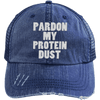 Pardon My Protein Dust Trucker Cap Apparel CustomCat 6990 Distressed Unstructured Trucker Cap Navy/Navy One Size