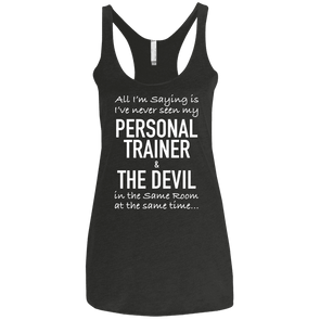 Personal Trainer & The Devil Apparel CustomCat NL6733 Next Level Ladies' Triblend Racerback Tank Vintage Black X-Small