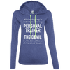 Personal Trainer & The Devil Hoodies Apparel CustomCat 887L Anvil Ladies' LS T-Shirt Hoodie Heather Blue/Neon Yellow Small