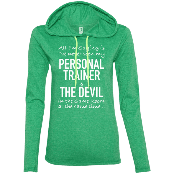 Personal Trainer & The Devil Hoodies Apparel CustomCat 887L Anvil Ladies' LS T-Shirt Hoodie Heather Green/Neon Yellow Small