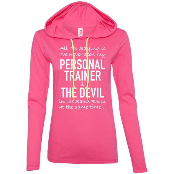 Personal Trainer & The Devil Hoodies Apparel CustomCat 887L Anvil Ladies' LS T-Shirt Hoodie Hot Pink/Neon Yellow Small