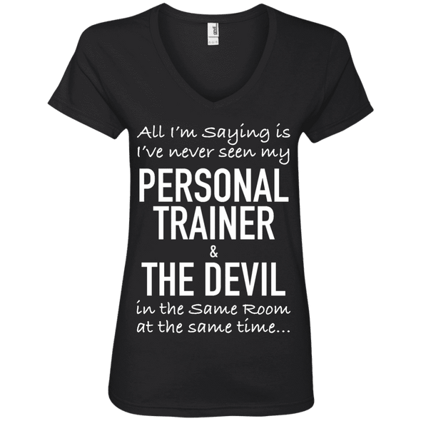 Personal Trainer & The Devil Tees Apparel CustomCat 88VL Anvil Ladies' V-Neck T-Shirt Black Small