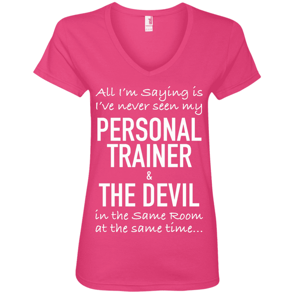 Personal Trainer & The Devil Tees Apparel CustomCat 88VL Anvil Ladies' V-Neck T-Shirt Hot Pink Small