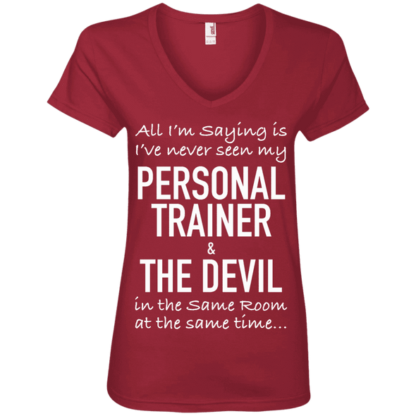 Personal Trainer & The Devil Tees Apparel CustomCat 88VL Anvil Ladies' V-Neck T-Shirt Independence Red Small