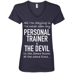 Personal Trainer & The Devil Tees Apparel CustomCat 88VL Anvil Ladies' V-Neck T-Shirt Navy Small
