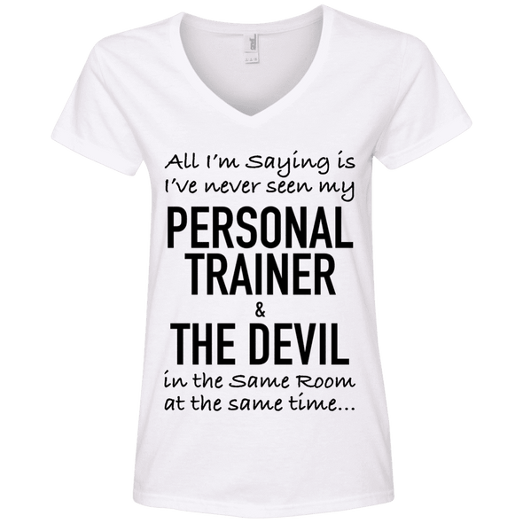Personal Trainer & The Devil Tees Apparel CustomCat 88VL Anvil Ladies' V-Neck T-Shirt White Small
