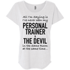 Personal Trainer & The Devil Tees Apparel CustomCat NL6760 Next Level Ladies' Triblend Dolman Sleeve Heather White X-Small