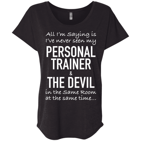 Personal Trainer & The Devil Tees Apparel CustomCat NL6760 Next Level Ladies' Triblend Dolman Sleeve Vintage Black X-Small