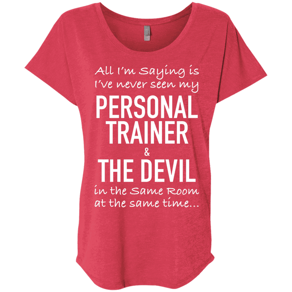 Personal Trainer & The Devil Tees Apparel CustomCat NL6760 Next Level Ladies' Triblend Dolman Sleeve Vintage Red X-Small