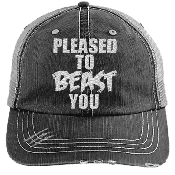 Pleased To Beast You Hats CustomCat Black/Grey One Size