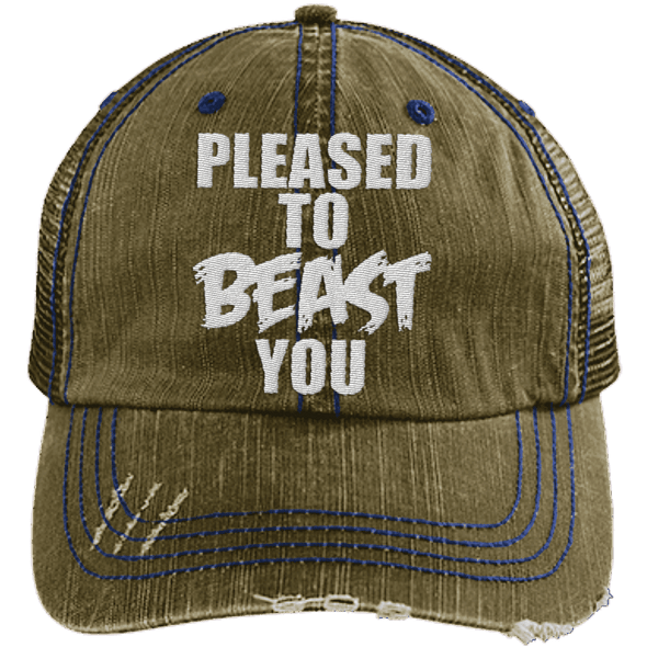 Pleased To Beast You Hats CustomCat Brown/Navy One Size