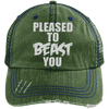 Pleased To Beast You Hats CustomCat Dark Green/Navy One Size