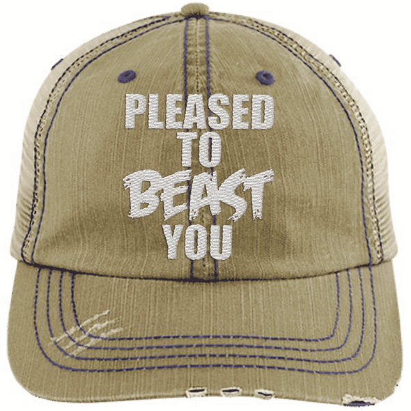 Pleased To Beast You Hats CustomCat Khaki/Navy One Size
