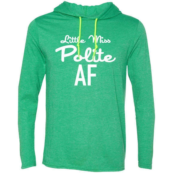 Polite AF T-Shirts CustomCat Heather Green/Neon Yellow Small