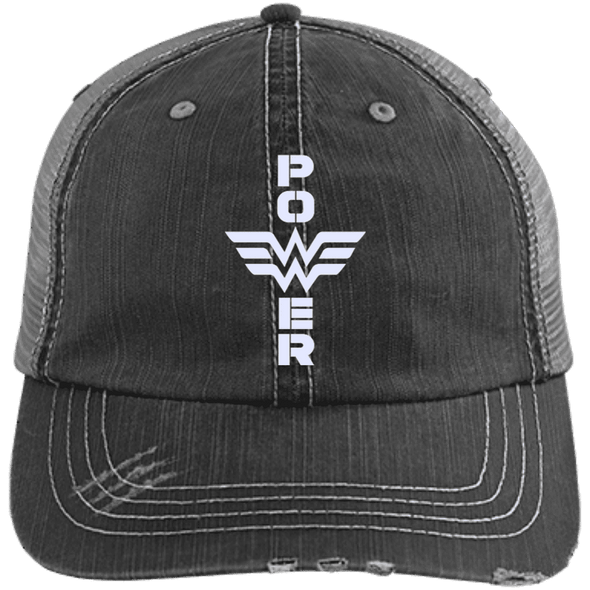 Power Distressed Trucker Cap Apparel CustomCat 6990 Distressed Unstructured Trucker Cap Black/Grey One Size