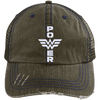Power Distressed Trucker Cap Apparel CustomCat 6990 Distressed Unstructured Trucker Cap Brown/Navy One Size