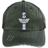 Power Distressed Trucker Cap Apparel CustomCat 6990 Distressed Unstructured Trucker Cap Dark Green/Navy One Size