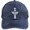 Power Distressed Trucker Cap Apparel CustomCat 6990 Distressed Unstructured Trucker Cap Navy/Navy One Size