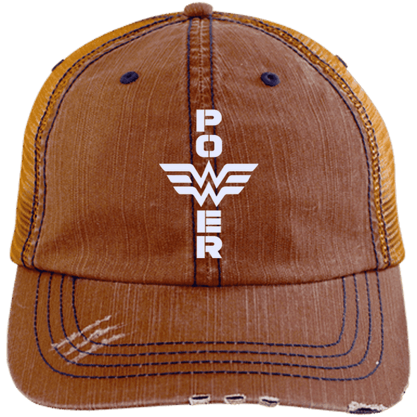 Power Distressed Trucker Cap Apparel CustomCat 6990 Distressed Unstructured Trucker Cap Orange/Navy One Size