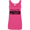 Powered by Protein Apparel CustomCat 882L Anvil Ladies' 100% Ringspun Cotton Tank Top Hot Pink Small