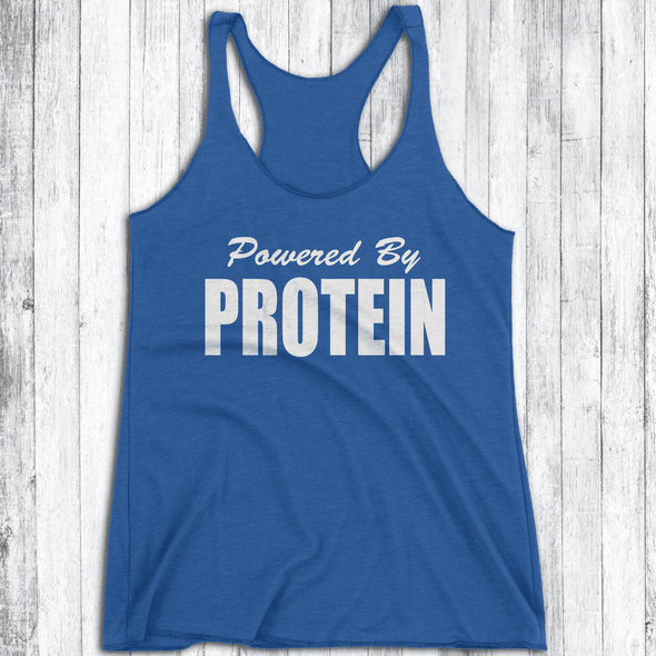 Powered by Protein Apparel CustomCat NL6733 Next Level Ladies' Triblend Racerback Tank Vintage Royal X-Small